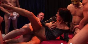 Euro babes jizzed in orgy
