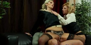 Clothed threesome cumshot bj
