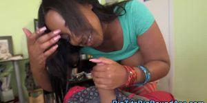 Ebony babe sucking cock