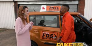 Fake Driving School - Redhead Horny Minx Quirts on Mechanics Big Black Cock