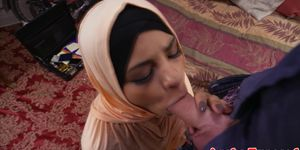 Sweet Arabic babe cock riding and sucking