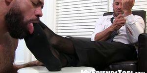 Naughty businessman Ray masturbates during foot treatment