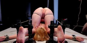 Bound slave whipped and spanked