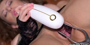 Naughty czech chick opens up her pink vagina to the peculiar