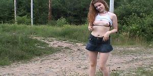 Fit bikini redhead GF flashing in public on waterfront