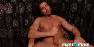 Smooth Muscular Stud Jerks His Beautiful  Uncut Cock