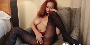 LOVEHOMEPORN - Redhead stepsister teases with hot black pantyhose