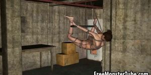Tied up 3D cartoon bruentte babe getting fucked