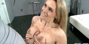 Blonde Milf Gets Her Tits Sprayed With Cum