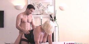 Granny rides and sucks dicks in threesome