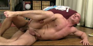 Blond gays trainer gets face and ass fucked