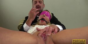 Sub Candice Banks gagged and fucked hard
