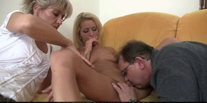 Old mom and dad tricks girl into family sex