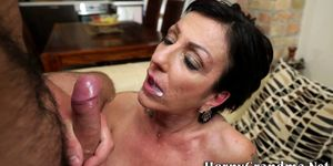 Licked mature woman rides