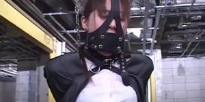 BDSM Leather Fetish For Suspended And Masked Japanese Teen