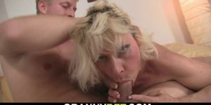 Blonde mature woman rides neighbor big meat