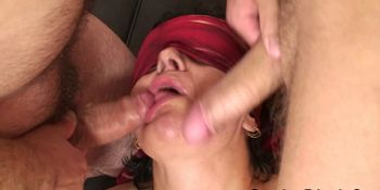 Very old grandmother in stockings takes two cocks