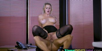 Busty office MILF blows dick before sex