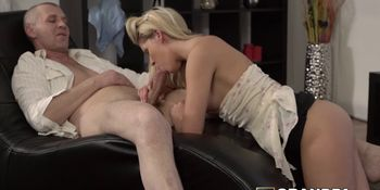 Amazing young babe brought to the floor by old man pounding