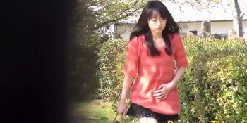 Kinky teens pee outdoors