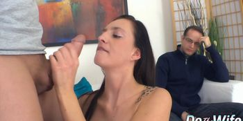Cuckold Sits Quietly While Wife Laura Davis Gets Pumped Full of Cum