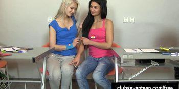 Excited teen lesbians masturbating pussies