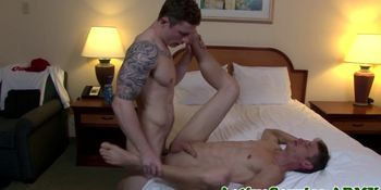 Tattooed military hunk gets his ass plowed