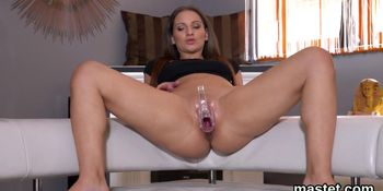 Wicked czech nympho stretches her narrowed slit to the unusual