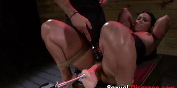 Bound slave deep throats dick
