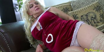 OldNannY Mature Blonde Seductive Solo Play