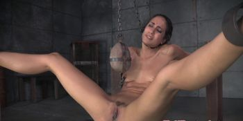 Restrained slut big clit whipped by maledom