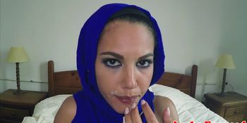 Doggy styled arabic babe gets jizzed in mouth