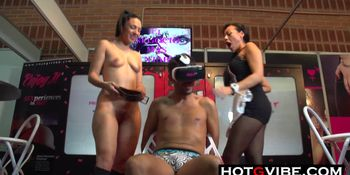 Lesbians Squirting on Man Slave in Public