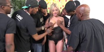 Petite blonde blow banged