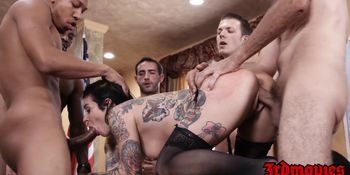 Succubus Joanna Angel Eats BBC Load After Group Anal