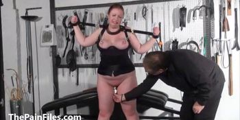 Bbw slave RosieB tit tortured and sadistic amateur bdsm of fat masochist in hardcore nipple punishments