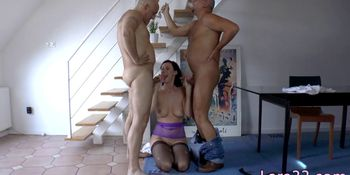 Assfucked milf spitroasted by two fat cocks