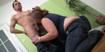 Big belly plumper picks up and rides his young cock