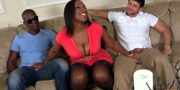 Hugeass ebony spitroasted on couch