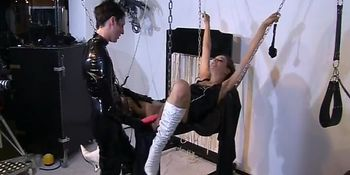 Horny master dildos his slaves pussy