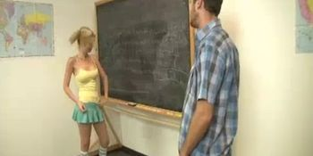 Now Teen Babe's Teacher Wants His Cock Relief Too