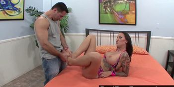 Big Titted Babe Uses Her Feet to