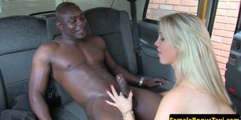 Fake tit taxi driver jizzed in mouth by BBC