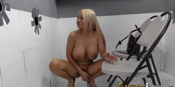 Gloryhole babe drips jizz