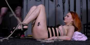 Dirty Marys lesbian bondage and electro bdsm of redhead slave in femdom domination by mistress X spanking and toying her masochi