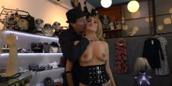 Tied up blonde gangbang in public