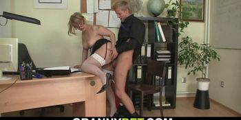 ACTION AT THE END-Oldie in white stockings takes it from behind