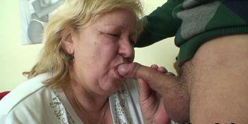 He picks up huge old grandma for cock riding