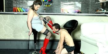 ATM fetish BBW dominates her slave