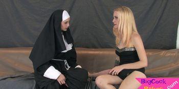 Lesbian threesome nuns fucking huge strapons